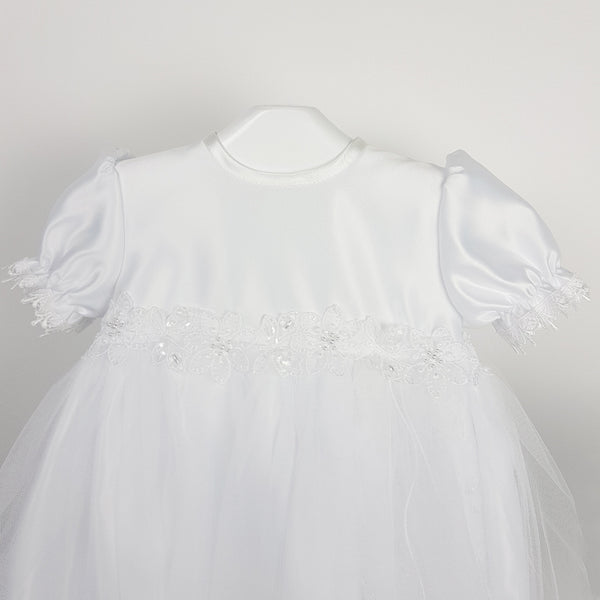 White Split Christening Robe with Pearls