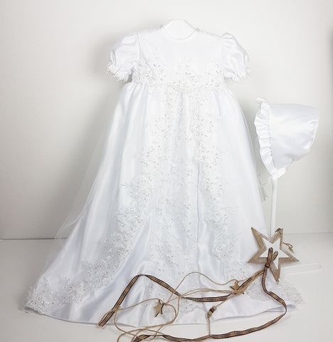 White Christening Robe with Pearls