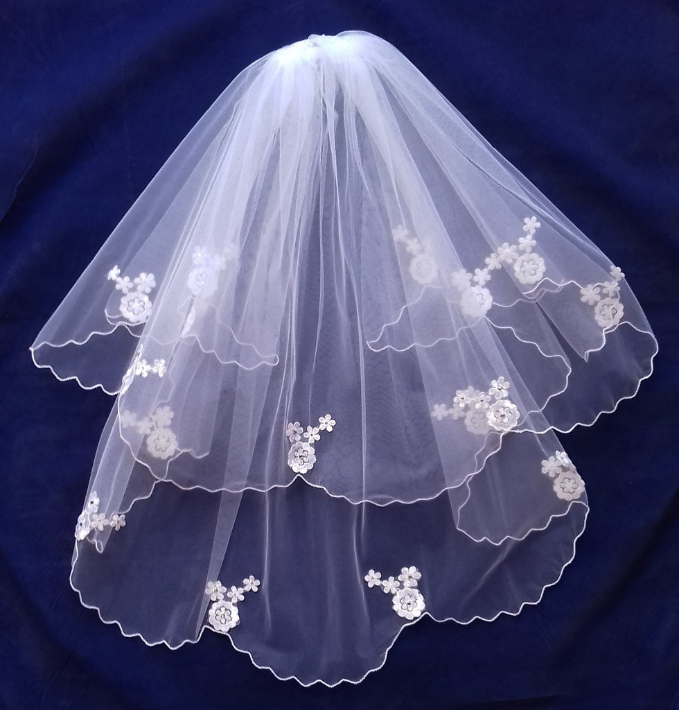 First Holy Communion Veil with Floral Motif CV144