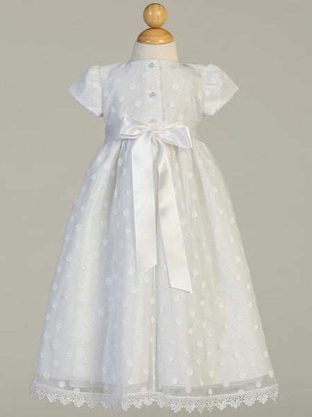 Girls  White Christening Gown with Pretty Polka-Dot Tulle