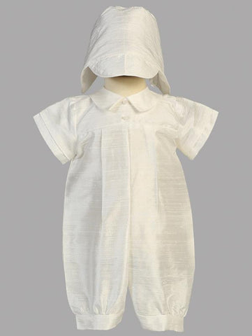 Boy's Pure Silk White Christening Suit With Matching Hat
