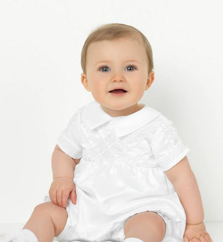 Boy's White Christening Romper Suit
