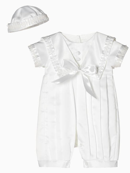 Boy's White Christening Romper in Nautical Theme