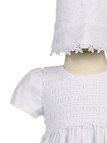 Unisex White Cotton Christening Gown with Smocked Bodice and Bonnet