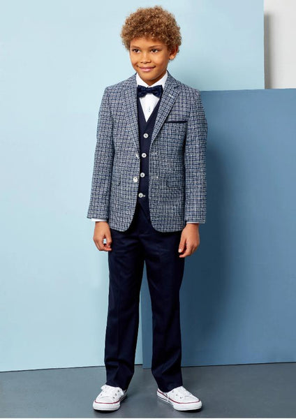 Benetti Boys 3-Piece DARCY Navy Check Communion Suit