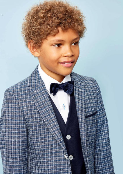 Benetti Boys DARCY Navy Check Communion Suit
