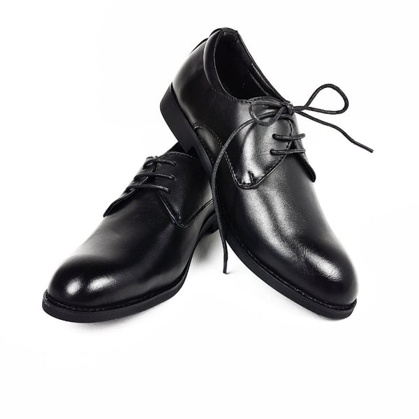Boys Classic Black Lace Up Shoes