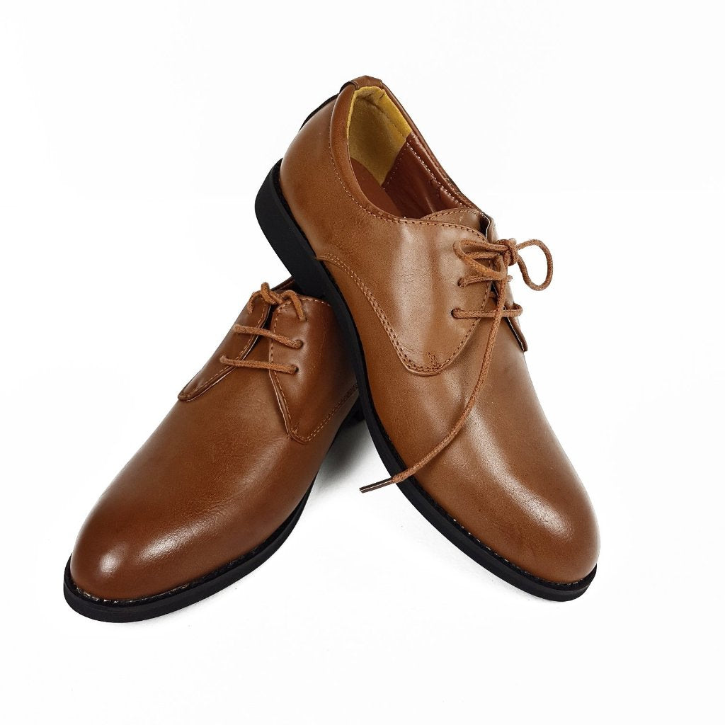 Boys Classic Lace Up Tan Shoes