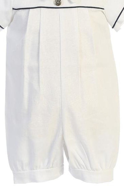 Boy's White Linen Blend Christening Romper With Matching Cap