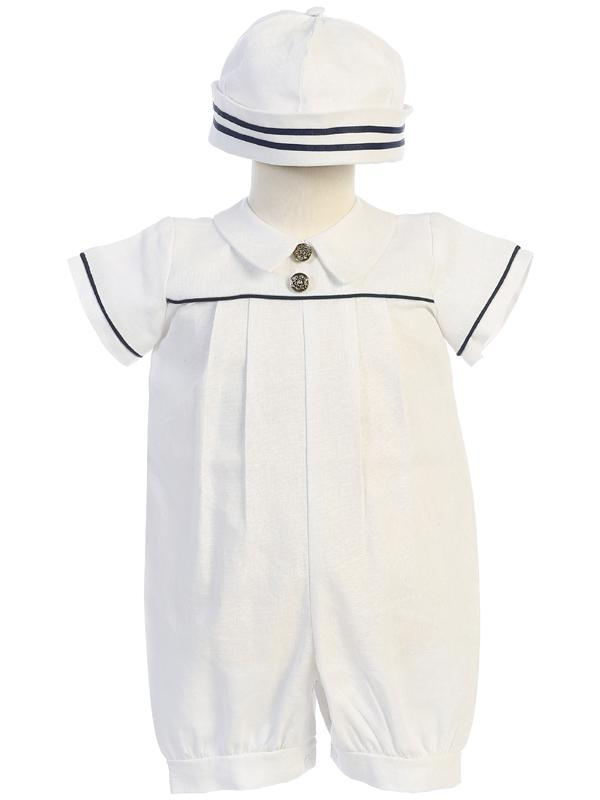 White Linen Sailor Christening Romper