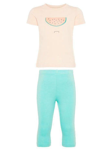 Name it Mini Girl Organic Cotton Two Piece T-Shirt & Legging Set PEACHY KEEN SET