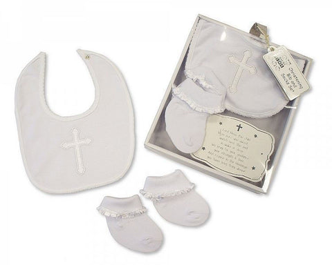 Sheldon Baby Christening Bib & Socks Set