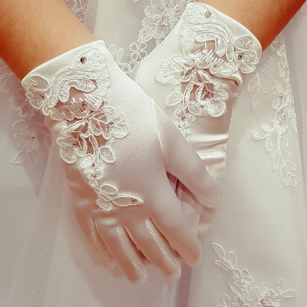 First Holy Communion Gloves with Sheer Motif