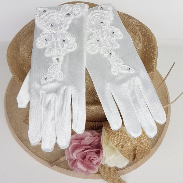 Communion Gloves 789 with Sheer Motif