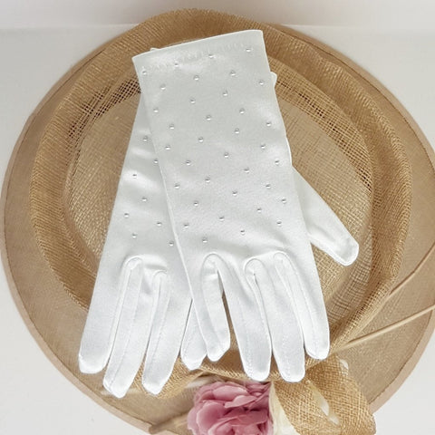 White satin Communion Gloves 792  by Little People