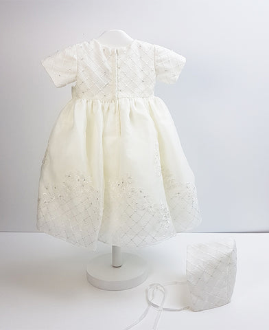 Sweetie Pie Ivory Floral Embroidery Christening Dress