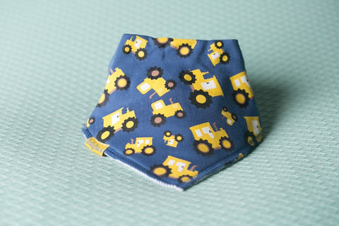 Bandana Bib in Blue with Yellow Timmy the Tractor Design