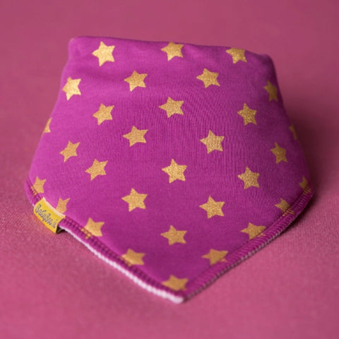 Babyboo Bandana Bib in Pink with Gold Stars