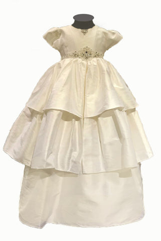Sweetie Pie Silk Christening Gown with Diamond and Pearl Detail