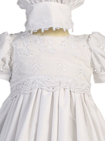 Girls Floral Embroidered White Christening Gown with Applique Lace