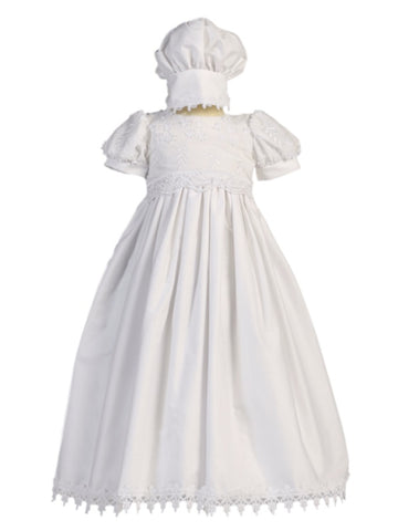 Girls White Cotton Christening Gown Kayla