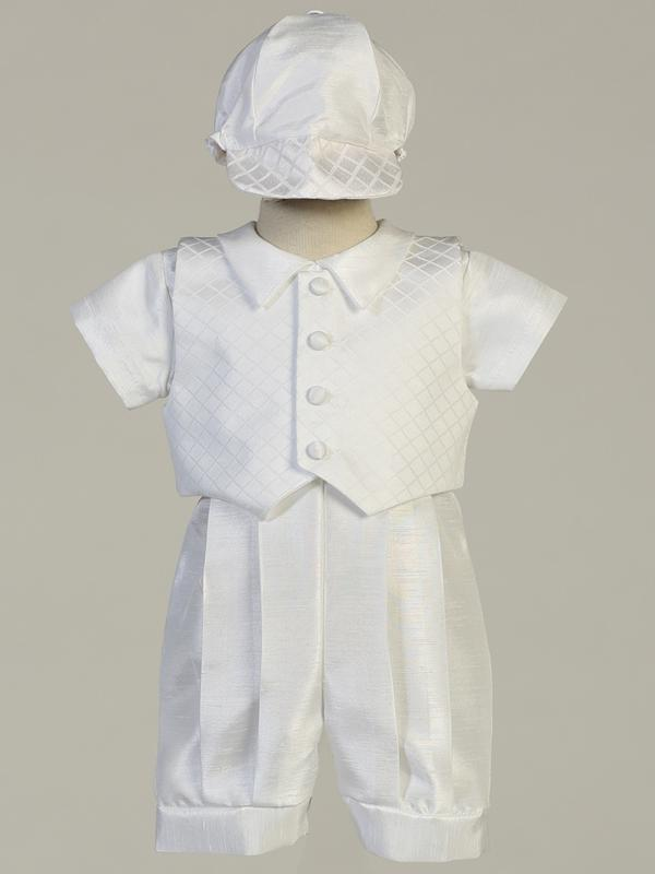 Boy's White Christening Romper With Waistcoat and Cap