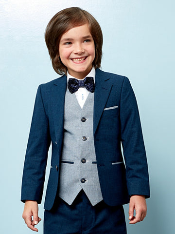 Benetti Boys 3-Piece Lloyd Navy Teal Communion Suit