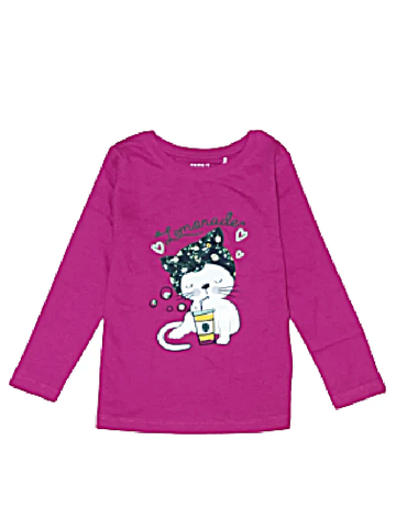 Name it Mini Girls Printed Long Sleeved Cotton Top