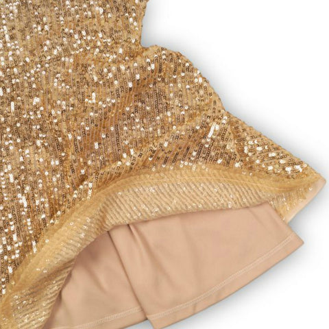Minoti Girls Gold Sequin Skater Dress