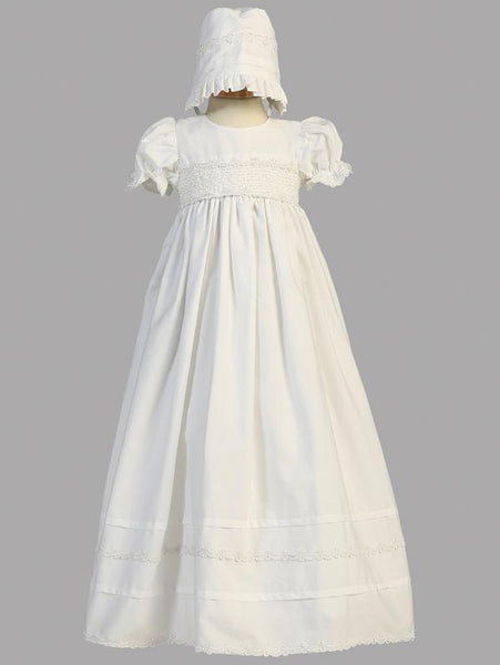 Unisex White Cotton Christening Gown with Matching Bonnet