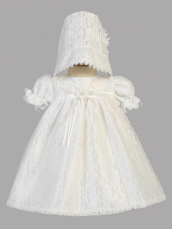 Girls Short White Lace Christening Dress With Matching Bonnet