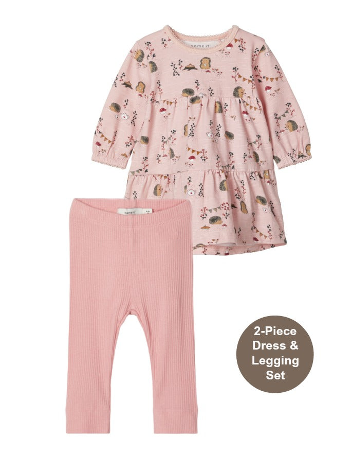 Name it Baby Girl 2-Piece Forest Print Dress and Legging Set
