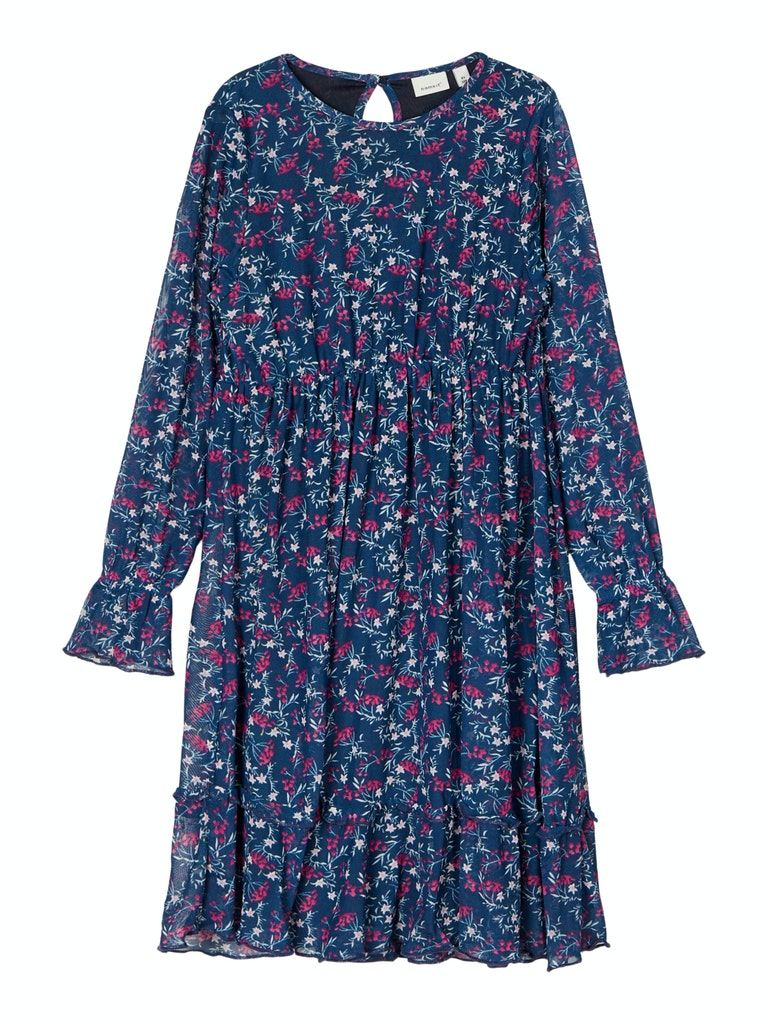 Name it Girls Long Sleeve Midi Floral Dress