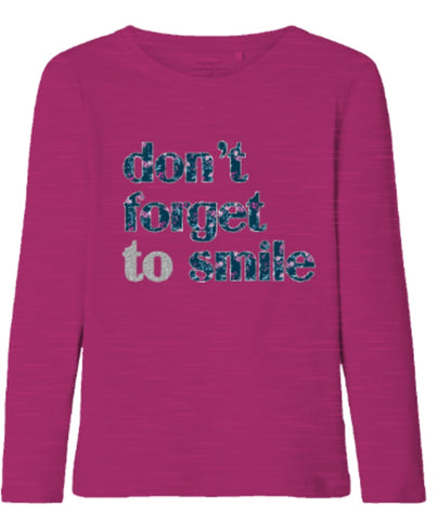 "Name it Girls Long Sleeve ""Don't Forget To Smile"" Top"
