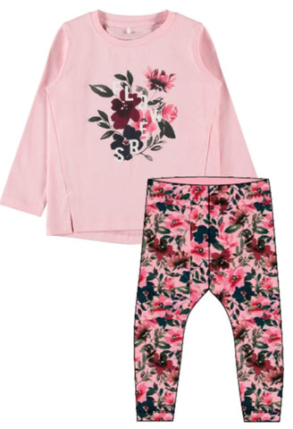 Name it Girls 2-Piece Pink Floral Top and Legging Set