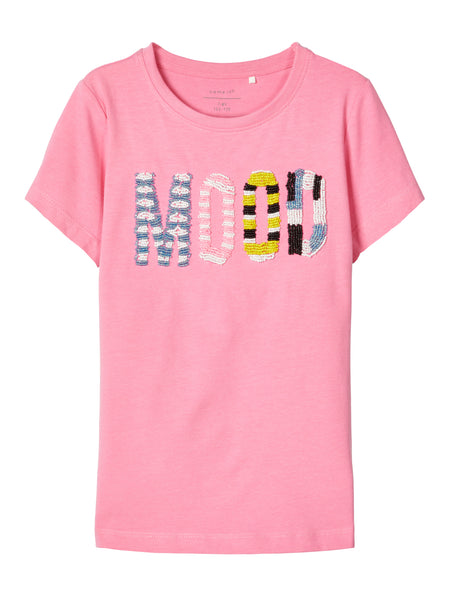 Name it Girls Short-Sleeved T-Shirt with Beaded Detail