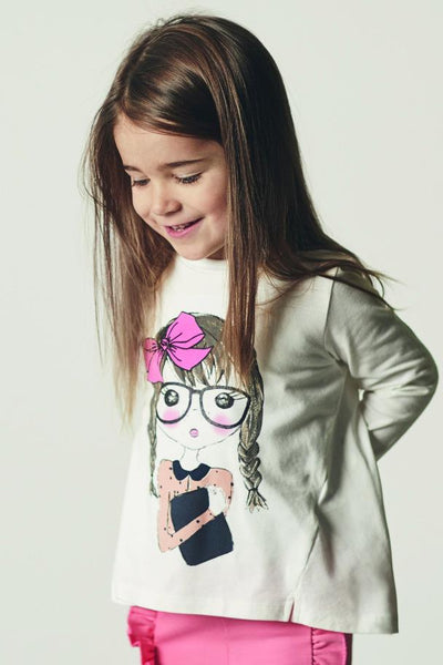 Name it Mini Girl Organic Cotton Long Sleeved Top with Girl Print FRONT
