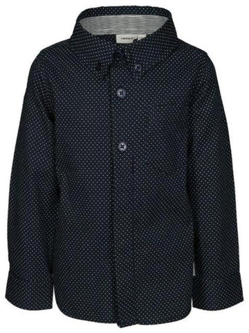 Name it Mini Boy Long Sleeved Button Up Cotton Shirt NAVY FRONT