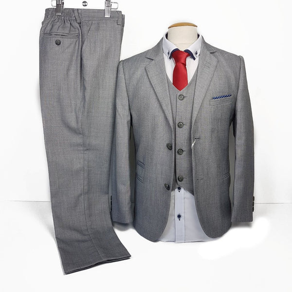 Boys 3 Piece Communion Suit in Light Grey