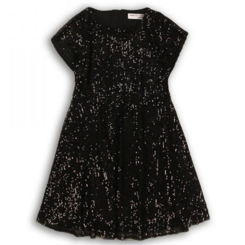 Minoti Girls Black Sequin Skater Dress