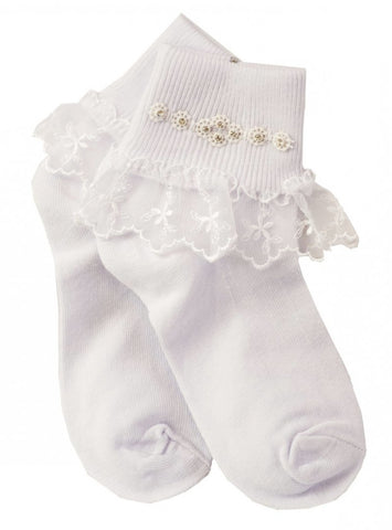 Communion Sock 5164 with lace and diamante