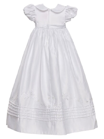 Sweetie Pie Embroidered Satin Christening Gown