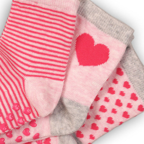 Minoti Mini Girl 3-Pack Pink Ankle Socks CLOSE UP