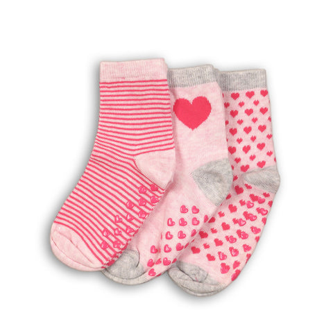 Minoti Mini Girl 3-Pack Pink Ankle Socks WIDE