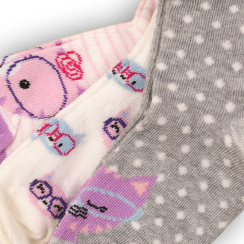 Minoti Mini Girl 3-Pack Cat Printed Ankle Socks CLOSE UP
