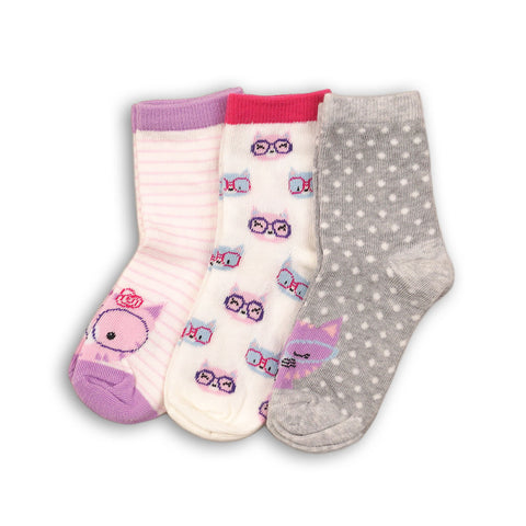 Minoti Mini Girl 3-Pack Cat Printed Ankle Socks WIDE