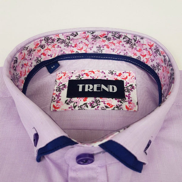 Boys Smart Lilac Shirt with Navy Trims