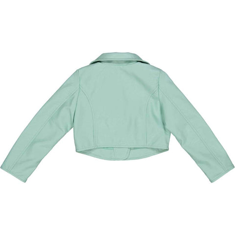 Try Beyond Girls Mint Faux Leather Biker Jacket