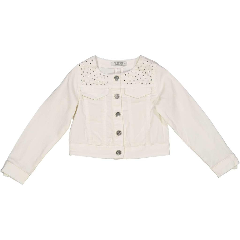 Try Beyond Girls Diamante and Pearl White Cotton Jacket