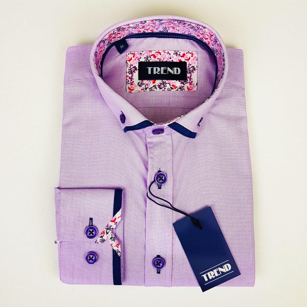 Boys Smart Long Sleeved Lilac Shirt
